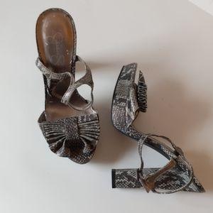 Jessica Simpson snakeskin sandals w heels-sz 8 1/2